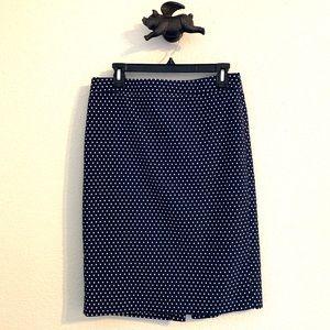 J. Crew Navy White Polka Dot No. 2 Pencil Skirt 6
